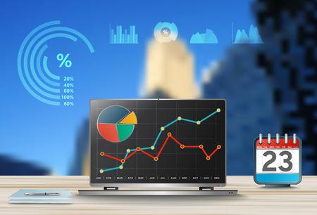 Confrontando le statistiche nel mondo degli affari, infografica riportano i grafici