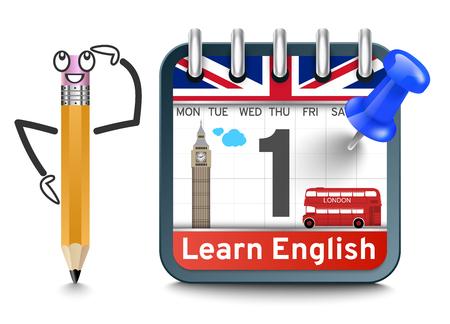 English language lessons with calendar Vetores