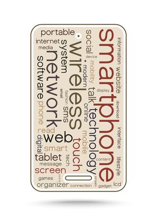 weblog: Word cloud concept smartphone - Media technology illustration Illustration