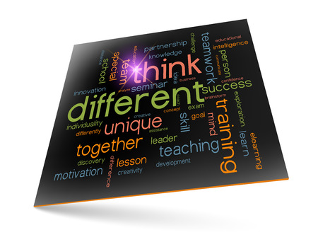 different concept: Think different concept - motivational phrase word cloud