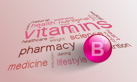 Vitamin B 12 element for a healthy life in the word cloud