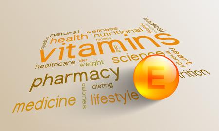 La vitamine E élément pour une vie saine dans le mot nuage Vecteurs