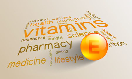 Vitamin E element for a healthy life in the word cloud