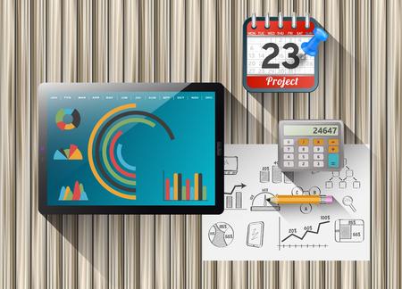 plan de accion: tableta de ordenador con un plan de acci�n. Equipos de oficina en la mesa de madera.