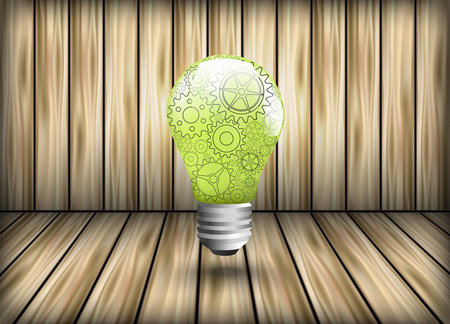 cognition: Pinions as a design element light bulb on background of wooden planks