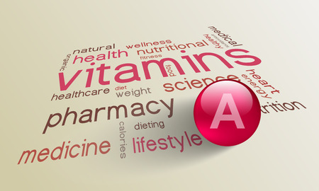 vitamin a: Vitamin A element for a healthy life in the word cloud
