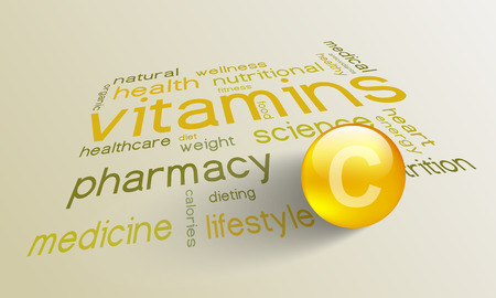 vitamin c: Vitamin C element for a healthy life in the word cloud