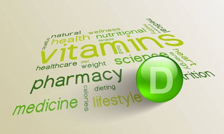 vitamin d: Vitamin D element for a healthy life in the word cloud Illustration
