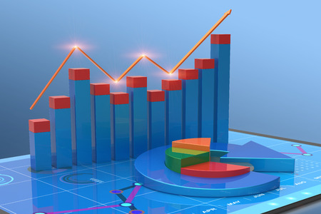 3D Rendering analysis of financial data in charts, accounting, business finance, taxes, banking, statistics, vision for the future Imagens