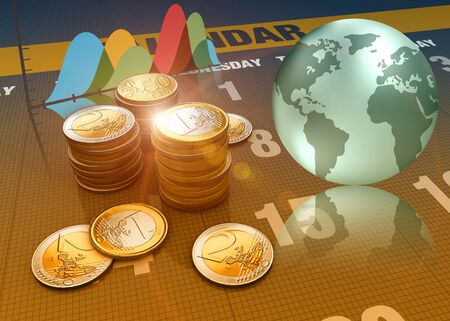 3D rendering, Global economics graph and euro coins as finance concept. Financial data in the global economy. Stock Photo