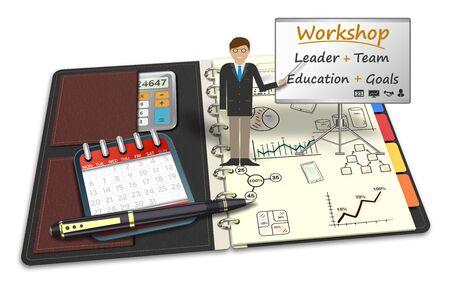 workshop seminar: 3D Illustration, Mentor workshop training, strategy, trading, teamwork. Meeting, seminar, presentation, lecture practical concept