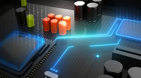 processor: 3D Illustration, Central Computer Processor CPU concept. technology background. Motherboard with microcircuit, close-up