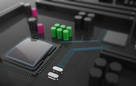 semiconductors: 3D Illustration, Central Computer Processor CPU concept. technology background. Motherboard with microcircuit, close-up