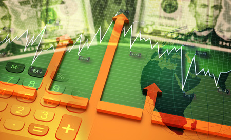 world economy: 3D Illustration, Financial accounting stock market graphs analysis, growing world economy.