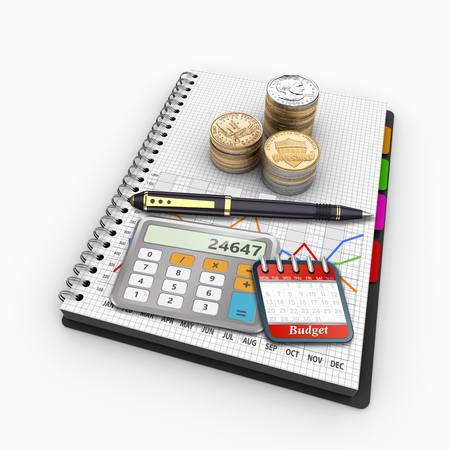 tax accountant: 3D Illustration, Spiral notebook on the topic of economics and finance. Report and market research budget.