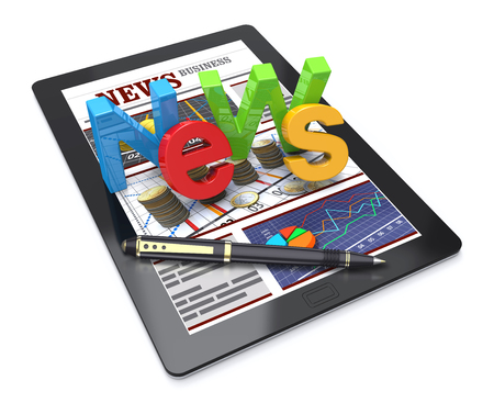 business news: 3D Illustration, Computer tablet with news about the financial business. Stock Photo