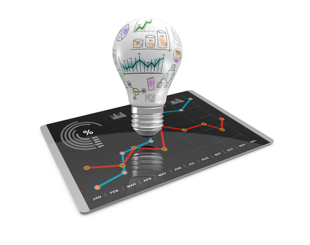 art product: 3D Illustration, Lightbulb ideas concept doodles, business charts on modern tablet computer Stock Photo