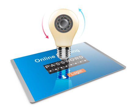 3D Illustration, Tablet PC and bulb icon with combination lock. Security of processing large volumes of data technology concept