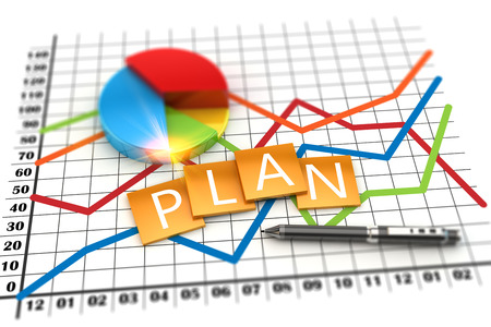 3D illustration, corporate planning economics graph financial concept. Financial data in the global economy. Stock Photo