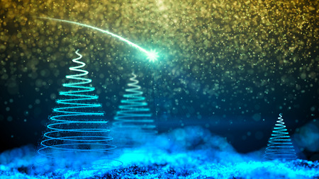 gentle dream vacation: Night sky with Christmas tree and falling snowflakes with stars.