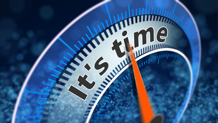 Its time indicator shows, 3D illustration blue background with particles.