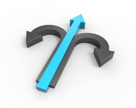 abilities: Leader business concept. Arrows process idea.