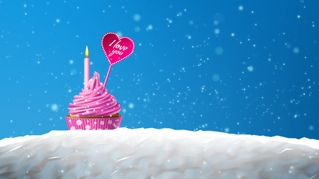 Romantic greeting card with cupcake with hearts and the words - I love you. The sea of whipped cream. Stock Photo