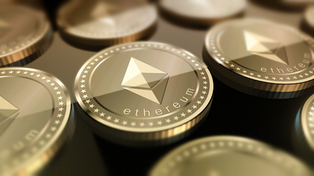 Glossy Ethereum in blurred closeup. Crypto-currency finance and banking as concept. Stock Photo