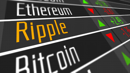 Ripple Crypto Currency Market as concept. Financial markets and virtual currency values 3D Illustration. 스톡 콘텐츠