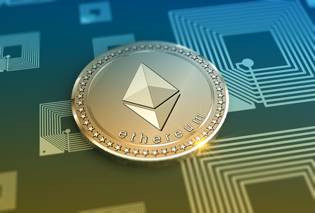 Glossy Ethereum coin in blurred closeup. Crypto-currency finance and banking as concept.