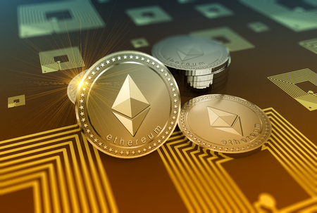 Crypto-currency Ethereum in blurred close up concept