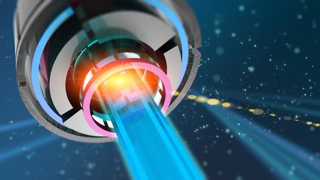 Blauwe gloeiende kwantumlaser in de ruimte met straal Stockfoto