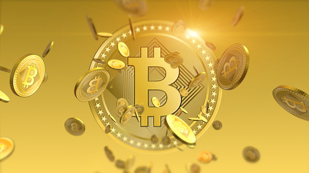 Virtual cryptocurrency Bitcoins falling coins close up on blurred background. Finance and banking concept. Stock Photo
