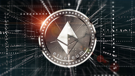 Cryptocurrency Ethereum in blurred virtual network.