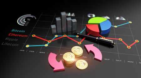 Cryptocurrency Bitcoin and virtual financial currency market exchange