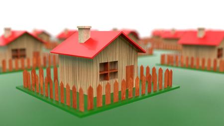 Building energy-efficient passive wooden houses concept Stockfoto