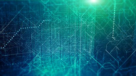 Visualización de big data. Fondo abstracto binario del código de la tecnología cibernética.
