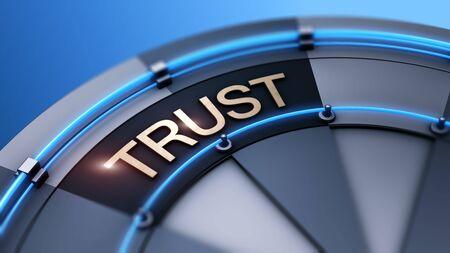 Building trust as symbol word on target wheel of fortune Foto de archivo - 129896978