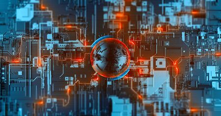 Digital crypto nanotechnology, neural network, futuristic cryptocurrency processor. Development innovation high-tech CPU. High speed 3D data processing. Foto de archivo