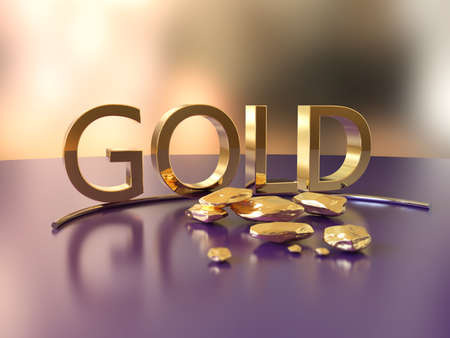 Gold nugget with golden word