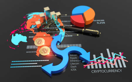 Bitcoin cryptocurrency stock market exchange. Bank market and virtual crypto currency value graph