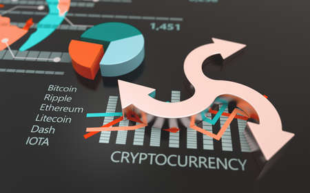 Bitcoin cryptocurrency stock market exchange chart. Bank market and virtual crypto currency value 3D graph Stockfoto