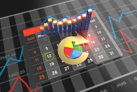 Economic statistics budget and banking with calendar on digital tablet Stockfoto