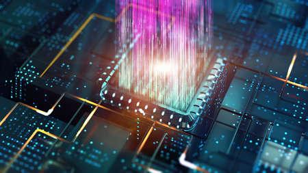 Big data transfer as futuristic visualization computer tech background