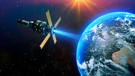 Realistic globe with satellite rays sending data