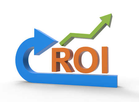 ROI return on investment economic strategy for future financial return 3D symbol