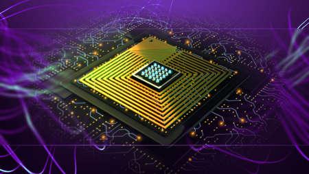 Digital nanotechnology AI, neural network. Development innovation high-tech CPU. High speed data processing background. Stockfoto