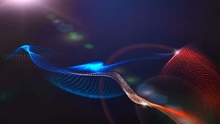 Wave wireframe mesh with light rays focus abstract background Stockfoto