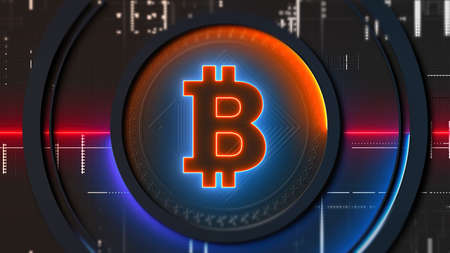 Cryptocurrency Bitcoin symbol crypto mining blockchain and investment banking
