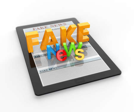 Computer tablet with fake news 3D render